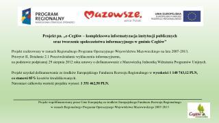 """Projekt pn. """"e-Cegłów  – kompleksowa informatyzacja instytucji publicznych"""
