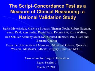 The Script-Concordance Test as a Measure of Clinical Reasoning: a National Validation Study