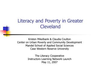 Literacy and Poverty in Greater Cleveland
