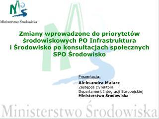 Prezentacja: Aleksandra Malarz Zastępca Dyrektora  Departament Integracji Europejskiej