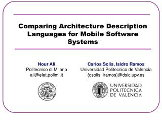 Comparing Architecture Description Languages for Mobile Software Systems