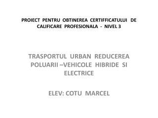 PROIECT  PENTRU  OBTINEREA  CERTIFFICATULUI   DE  CALIFICARE  PROFESIONALA  -  NIVEL 3