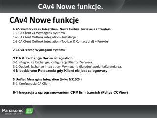 CAv4  Nowe funkcje .
