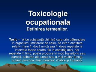 Toxicologie ocupationala