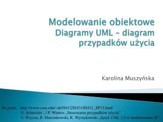 Modelowanie obiektowe Diagramy UML – diagram przypadków użycia