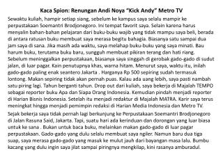 "Kaca Spion: Renungan Andi Noya ""Kick Andy"" Metro TV"