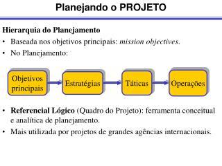 Hierarquia do Planejamento Baseada nos objetivos principais:  mission objectives .