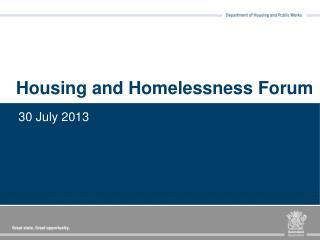 Housing and Homelessness Forum