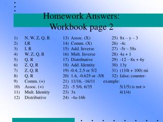 Homework Answers:   Workbook page 2