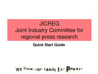 JICREG Joint Industry Committee for regional press research
