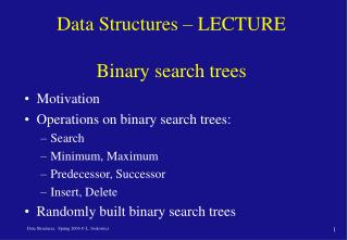 Data Structures � LECTURE  Binary search trees