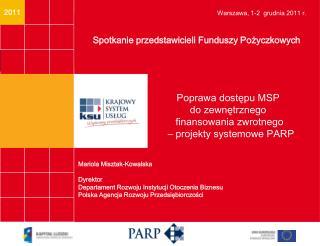 Finansowanie zwrotne działalności MSP  - efekty badań