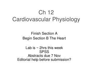 Ch 12  Cardiovascular Physiology