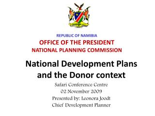 National Development Plans and the Donor context