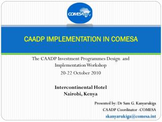 CAADP IMPLEMENTATION IN COMESA