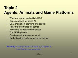 Topic 2 Agents, Animats and Game Platforms