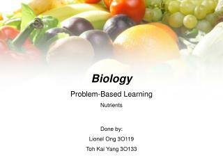 Biology  Problem-Based Learning Nutrients