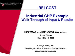 RELCOST Industrial CHP Example Walk-Through of Input & Results