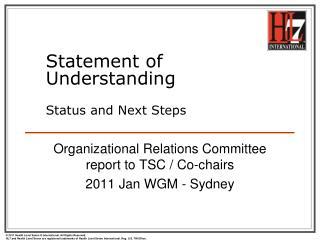 Statement of Understanding Status and Next Steps