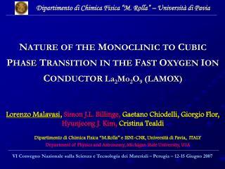 """Dipartimento di Chimica Fisica """"M. Rolla"""" – Università di Pavia"""