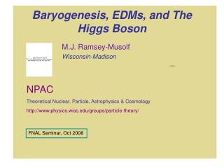 Baryogenesis, EDMs, and The Higgs Boson