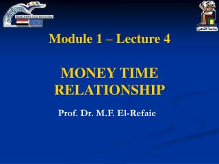 Module 1 – Lecture 4 MONEY TIME RELATIONSHIP