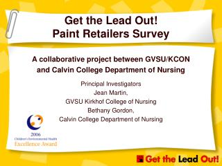 Get the Lead Out! Paint Retailers Survey