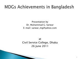 MDGs Achievements in Bangladesh