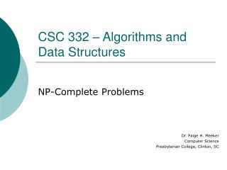 CSC 332 � Algorithms and Data Structures