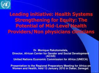 Dr. Monique Rakotomalala,  Director, African Center for Gender and Social Development (ACGS)