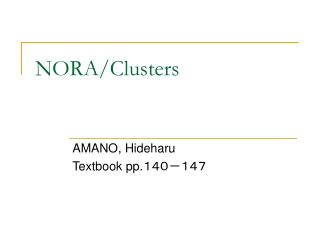 NORA/Clusters