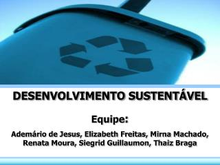 DESENVOLVIMENTO SUSTENTÁVEL Equipe :