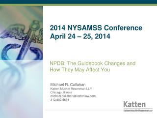 2014 NYSAMSS Conference April 24 – 25, 2014