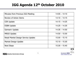 IGG Agenda 12 th  October 2010