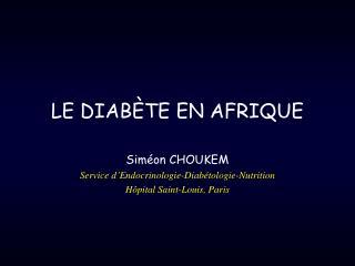 LE DIABÈTE EN AFRIQUE