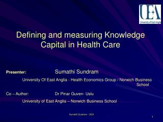 Defining and measuring Knowledge Capital in Health Care