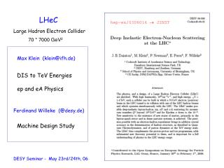 LHeC Large Hadron Electron Collider