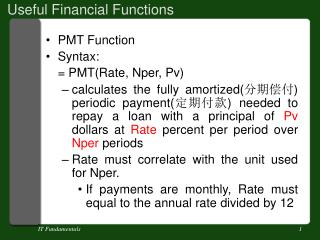 Useful Financial Functions