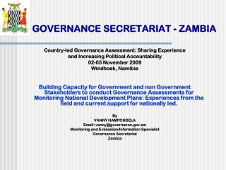 GOVERNANCE SECRETARIAT - ZAMBIA
