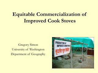 Equitable Commercialization of Improved Cook Stoves