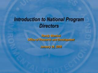 Introduction to National Program Directors