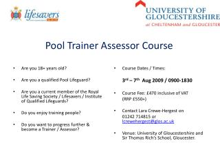 Pool Trainer Assessor Course