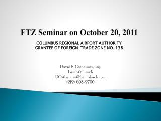 FTZ Seminar on October 20, 2011
