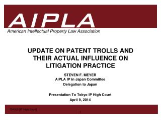 UPDATE ON PATENT TROLLS AND THEIR ACTUAL INFLUENCE ON  LITIGATION PRACTICE