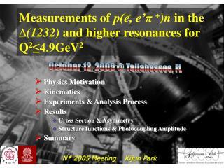 Measurements of  p(e, e' π + )n in the  ∆ (1232)  and higher resonances for Q 2 ≤4.9 GeV 2
