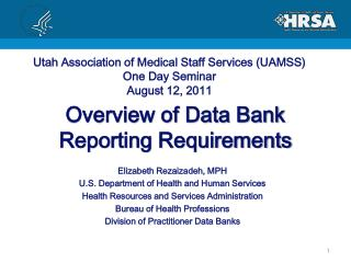 Overview of Data Bank  Reporting Requirements
