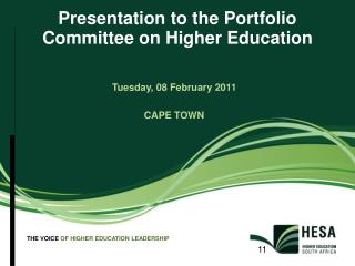 Presentation to the Portfolio Committee on Higher Education
