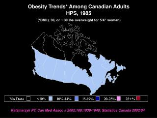 Obesity Trends* Among Canadian Adults HPS, 1985