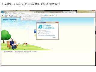 1.  도움말  -> Internet Explorer  정보 클릭 후 버전 확인