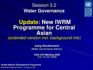 Juerg Staudenmann Water Governance Advisor  E&E CoP-Meeting 2008 Tue 14 Oct 2008